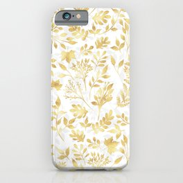 Elegant Gold Glitter Foliage White Design iPhone Case