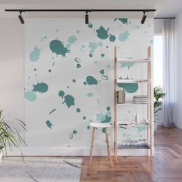 Teal Blue Paint Splatters Wall Mural