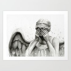Weeping Angel Watercolor Painting Art Print