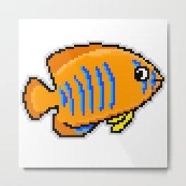 8-Bit Clarion Angelfish Pixel Art Tropical Fish Metal Print