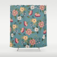vintage floral Shower Curtains featuring Floral Vintage by Juliana Zimmermann