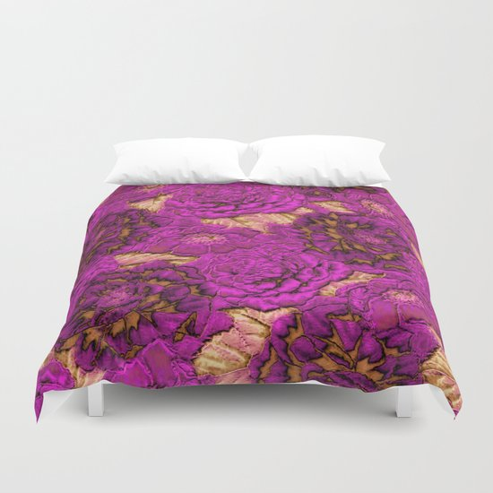 satin and lace flowers Duvet Cover