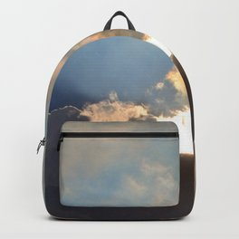 Sunset With Blue And Gold Cloudy Sky  Backpack