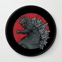 kaiju Wall Clocks featuring Gojira Kaiju Alpha by pigboom el crapo