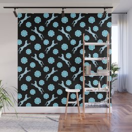 Gorgeous wild jumping cheetahs and lovely blooming roses. Stylish classy elegant artistic bright blue pastel retro vintage botanical animal nature black pattern. Wall Mural