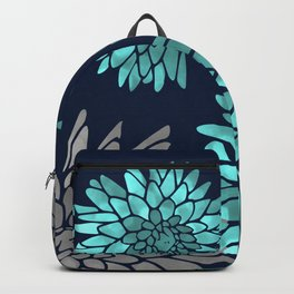 Floral Chrysanthemum Modern Navy Aqua Backpack