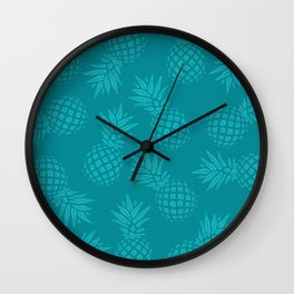 Pineapple Pattern - Teal on Teal Wall Clock