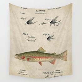 Vintage Rainbow Trout Fly Fishing Lure Patent Game Fish Identification Chart Wall Tapestry