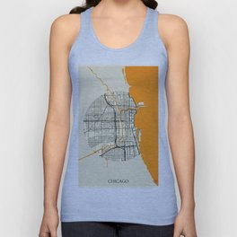 Chicago Map Moon Unisex Tank Top