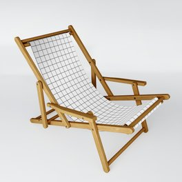 Black and White Thin Grid Graph Sling Chair