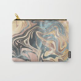 Liquid Gold and Rose Gold Marble Carry-All Pouch