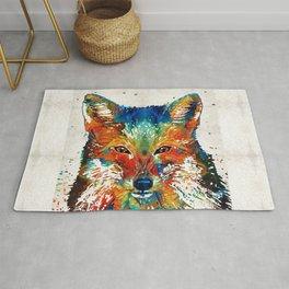 Colorful Fox Art - Foxi - By Sharon Cummings Rug