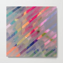Ribbon Party - Gray and Rainbow Stripe Palette Metal Print