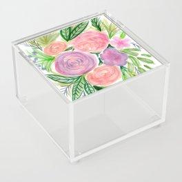 Pastel Floral Bouquet Watercolor Acrylic Box