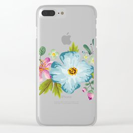 Bouquet Viola - Violet, Green AND Blue Flower Pimpernel Clear iPhone Case