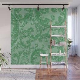 Retro Chic Swirl Green Wall Mural