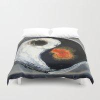 yin yang Duvet Covers featuring Yin Yang by Liz Moran