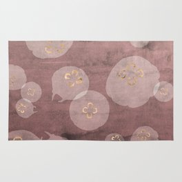 Blush Jellies - pink home decor, sea creature art, animal print, gold details jellyfish Rug