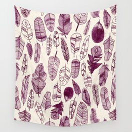 Maroon Feathers Wall Tapestry