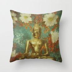 Retro Buddha Throw Pillow