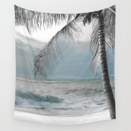 White Coconut Palm Tree Wall Tapestry