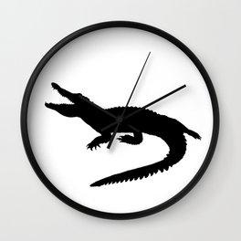 Crocodile Black Silhouette Animal Pet Cool Style Wall Clock