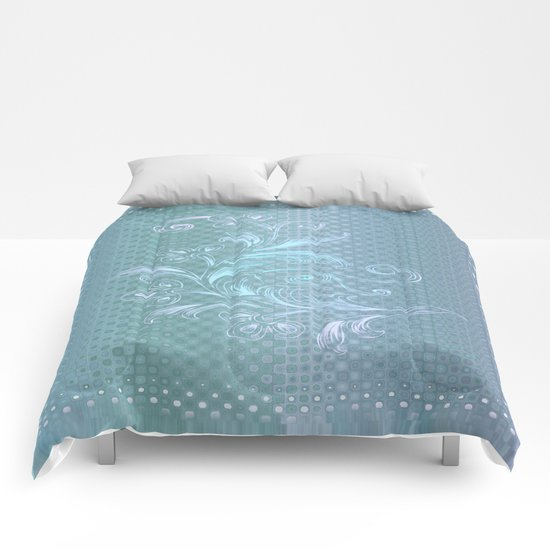 Dots and Stripes Floral Abstract – Blue Comforters