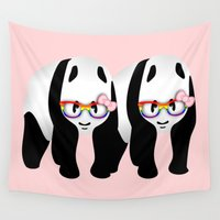 lesbian Wall Tapestries featuring Lesbian  Gay Pride Pandas by mailboxdisco