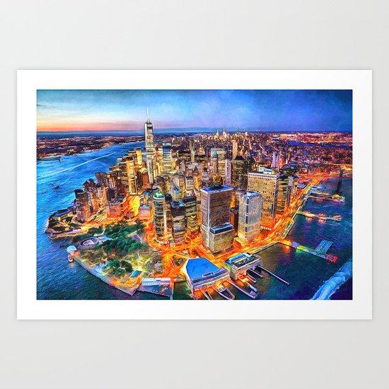 NYC Brooklyn New York City Manhattan Sunset Painting City Watercolor Skyline Art Print Decor by reburndesigns