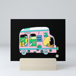 moving truck campervan blonde girl Mini Art Print