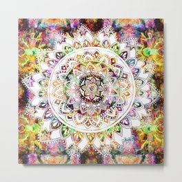 Psychedelic Mantis Mandala Metal Print