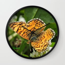 A Mylitta Crescent Butterfly at Rest Wall Clock
