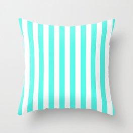 Vertical Stripes (Turquoise & White Pattern) Throw Pillow