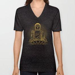 Golden Buddha on Black Unisex V-Neck