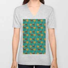 Coconut and Pineapple Tropical Pattern Unisex V-Neck