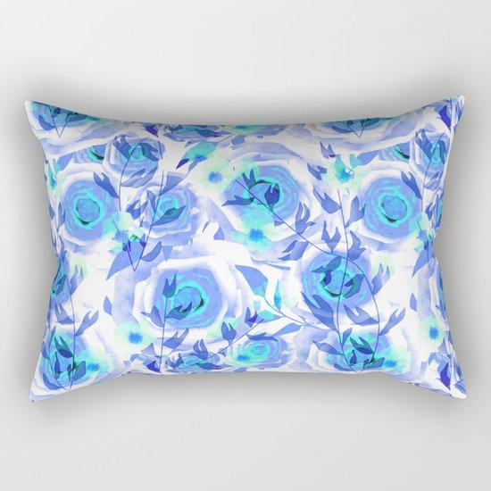 Blue and light blue floral background . Rectangular Pillow
