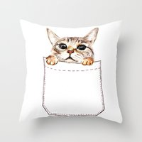 pocket Throw Pillows featuring Pocket cat by Anna Shell