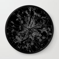 budapest hotel Wall Clocks featuring Budapest by Line Line Lines