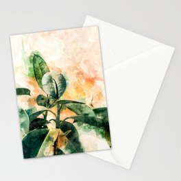 Green Watercolor Rubber Plant Stationery Cards