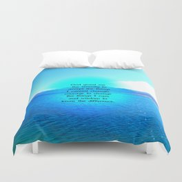 Serenity Prayer With Blue Ocean and Amazing Sky Duvet Cover