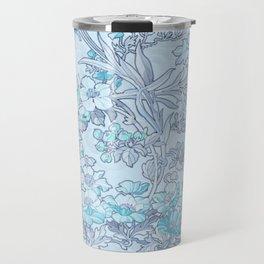 "Alphonse Mucha ""Anemones, Apple Blossoms and Narcissi"" (edited blue) Travel Mug"