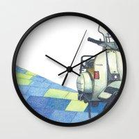 vespa Wall Clocks featuring vespa by Miyuki Sakurai