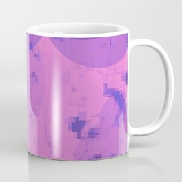 geometric circle and square pattern abstract in pink purple Coffee Mug