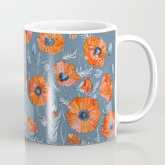 Red poppies in grey Mug