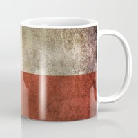 chile Mugs featuring Old and Worn Distressed Vintage Flag of Chile by Jeff Bartels