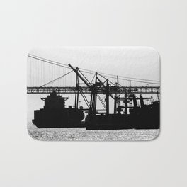 Metallic Architectures Docked Cargo Ships Bath Mat