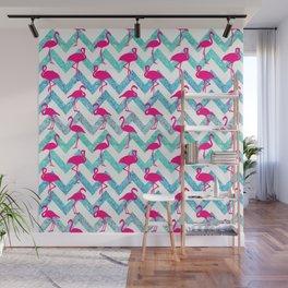 Go Flamingo! Tropical Pink Neon Flamingos Teal Glitter Chevron Wall Mural
