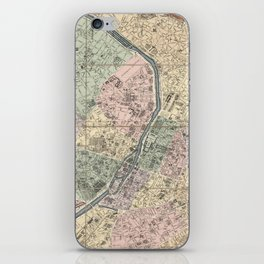 Vinage Map of Paris France (1878) iPhone Skin