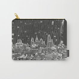 philadelphia city skyline black and white Carry-All Pouch