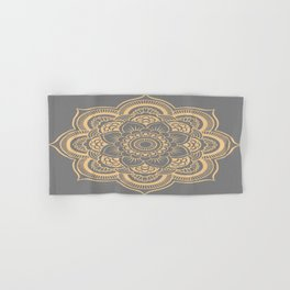 Mandala Flower Gray & Peach Hand & Bath Towel
